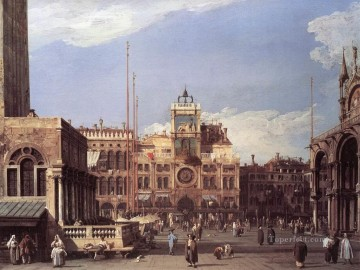 Canaletto Painting - Piazza San Marco The Clocktower Canaletto