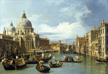 Canaletto Painting - The Grand Canal and the Church of the Salute Canaletto
