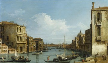 Canaletto Painting - The Grand Canal from Campo S Vio towards the Bacino Canaletto