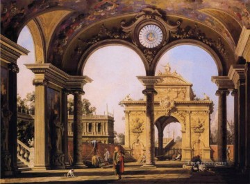 Canaletto Painting - capriccio of a renaissance triumphal arch seen from the portico of a palace 1755 Canaletto