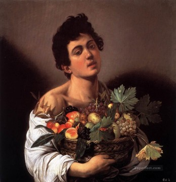 Caravaggio Art Painting - Boy with a Basket of Fruit Caravaggio