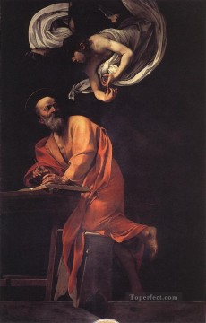 Caravaggio Painting - The Inspiration of Saint Matthew Caravaggio