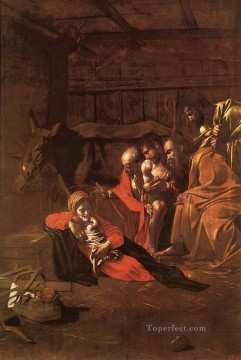 Adoration Art - Adoration of the Shepherds Caravaggio