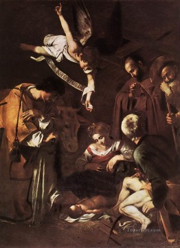 Nativity with St Francis and St Lawrence Caravaggio Oil Paintings