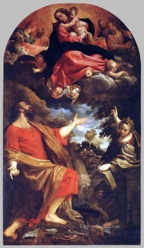Virgin Painting - The Virgin Appears to St Luke and Catherine Baroque Annibale Carracci