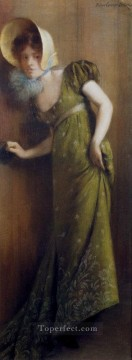 Pierre Works - Elegant Woman In A Green Dress Carrier Belleuse Pierre