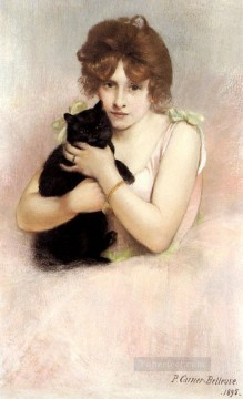 cat Art Painting - Young Ballerina Holding A Black Cat Carrier Belleuse Pierre