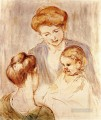 A Baby Smiling at Two Young Women mothers children Mary Cassatt