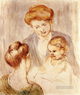 baby works - A Baby Smiling at Two Young Women mothers children Mary Cassatt