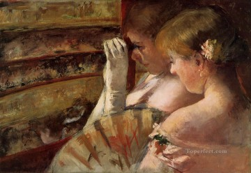 Mary Cassatt Painting - A Corner of the Loge aka In the Box mothers children Mary Cassatt