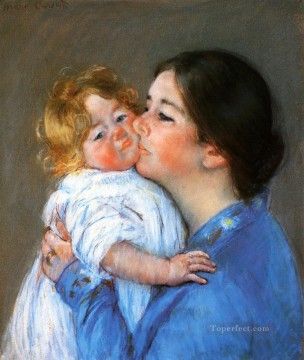 klimt kiss Painting - A Kiss For Baby Anne mothers children Mary Cassatt