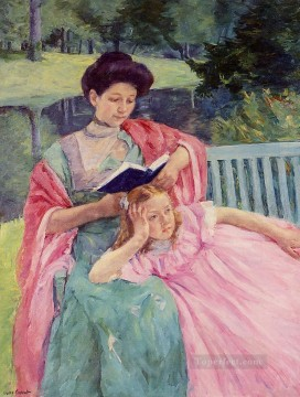 Mary Cassatt Painting - Auguste Reading to Her Daughter mothers children Mary Cassatt