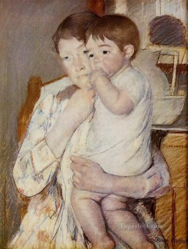 Mary Cassatt Painting - Baby in His Mothers Arms Sucking His Finger mothers children Mary Cassatt