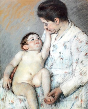 Mary Cassatt Painting - Baby s First Caress mothers children Mary Cassatt