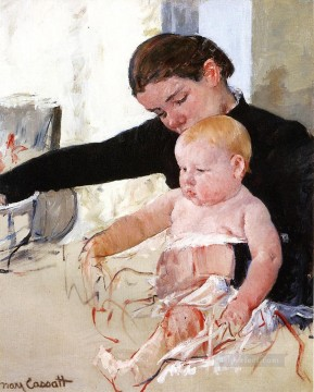 Mary Cassatt Painting - Bathing the Young Heir mothers children Mary Cassatt