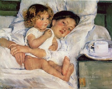 Mary Cassatt Painting - Breakfast in Bed mothers children Mary Cassatt