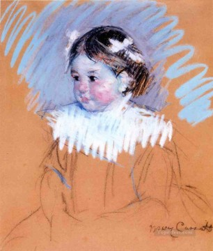 Mary Cassatt Painting - Bust of Ellen with Bows in Her Hair mothers children Mary Cassatt