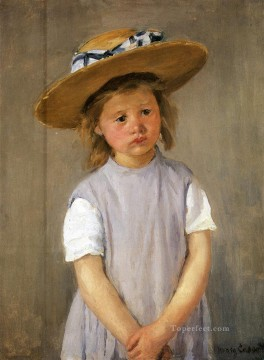 Mary Cassatt Painting - Child In A Straw Hat mothers children Mary Cassatt