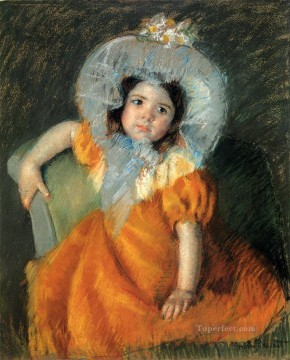 Mary Cassatt Painting - Child In Orange Dress mothers children Mary Cassatt