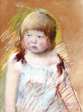 Mary Cassatt Painting - Child with Bangs in a Blue Dress mothers children Mary Cassatt