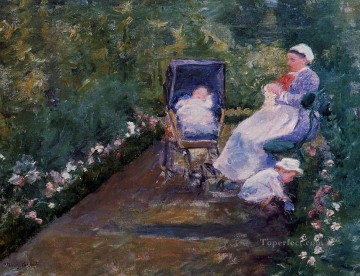 Mary Cassatt Painting - Children in a Garden mothers children Mary Cassatt