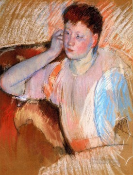 left Canvas - Clarissa Turned Left with Her Hand to Her Ear mothers children Mary Cassatt