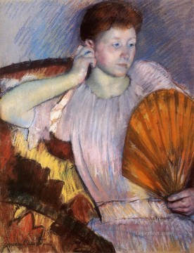 Hand Canvas - Contemplation aka Clarissa Turned Right with Her Hand to Her Ear mothers children Mary Cassatt
