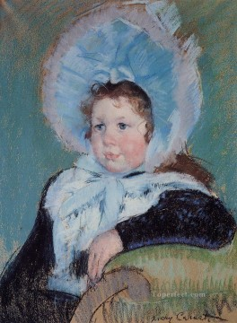 Mary Cassatt Painting - Dorothy in a Very Large Bonnet and a Dark Coat mothers children Mary Cassatt
