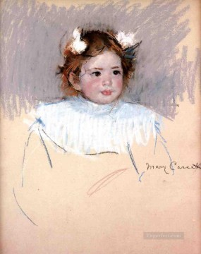 Mary Cassatt Painting - Ellen with Bows in Her Hair Looking Right mothers children Mary Cassatt