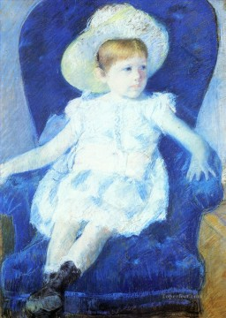 Chair Painting - Elsie in a Blue Chair mothers children Mary Cassatt