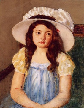 Mary Cassatt Painting - Francoise Wearing a Big White Hat mothers children Mary Cassatt