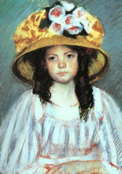Mary Cassatt Painting - Girl in a Large Hat mothers children Mary Cassatt