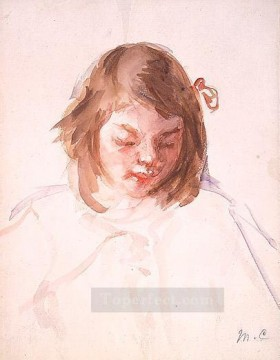 Mary Cassatt Painting - Head of Francoise Looking Down mothers children Mary Cassatt