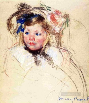 left Canvas - Head of Sara in a Bonnet Looking Left mothers children Mary Cassatt