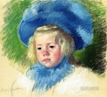 Head of Simone in a Large Plumes Hat Looking Left mothers children Mary Cassatt