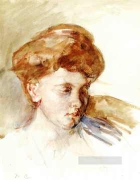 Mary Cassatt Painting - Head of a Young Woman mothers children Mary Cassatt
