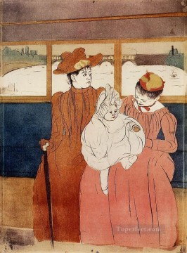 Interior of a Tramway Passing a Bridge mothers children Mary Cassatt Oil Paintings