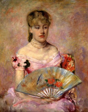 Mary Cassatt Painting - Lady with a Fan aka Portrait of Anne Charlotte Gaillard mothers children Mary Cassatt