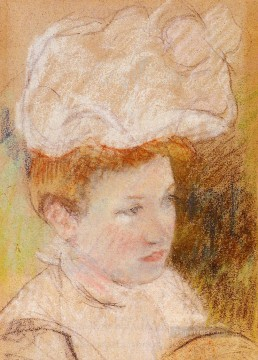 Leontine in a Pink Fluffy Hat mothers children Mary Cassatt Oil Paintings