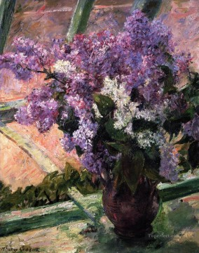 Mary Cassatt Painting - Lilacs in a Window flower Mary Cassatt