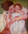 Little Ann Sucking Her Finger Embraced by Her Mother mothers children Mary Cassatt