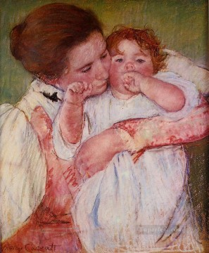 Mary Cassatt Painting - Little Ann Sucking Her Finger Embraced by Her Mother mothers children Mary Cassatt