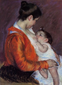 Mary Cassatt Painting - Louise Nursing Her Child mothers children Mary Cassatt