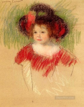 Margot In Big Bonnett And Red Dress mothers children Mary Cassatt Oil Paintings