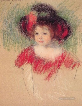 Mary Cassatt Painting - Margot in Big Bonnet and Red Dress mothers children Mary Cassatt