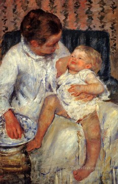sleep Painting - Mother About To Wash Her Sleepy Child mothers children Mary Cassatt