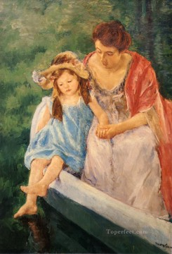 Mary Cassatt Painting - Mother And Child In A Boat mothers children Mary Cassatt