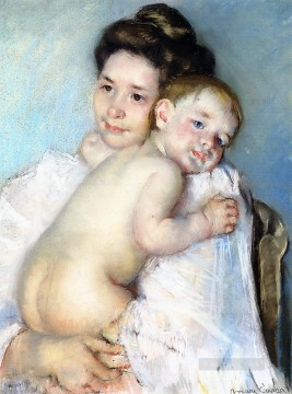 Mary Cassatt Painting - Mother Berthe Holding Her Baby mothers children Mary Cassatt