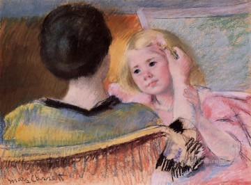 Mary Cassatt Painting - Mother Combing Saras Hair no mothers children Mary Cassatt