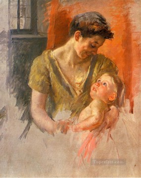Mary Cassatt Painting - Mother and Child Smiling at Each Other mothers children Mary Cassatt